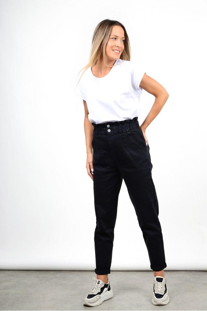 Παντελόνι τζιν slouchy ψηλόμεσο μαύρο με λάστιχο