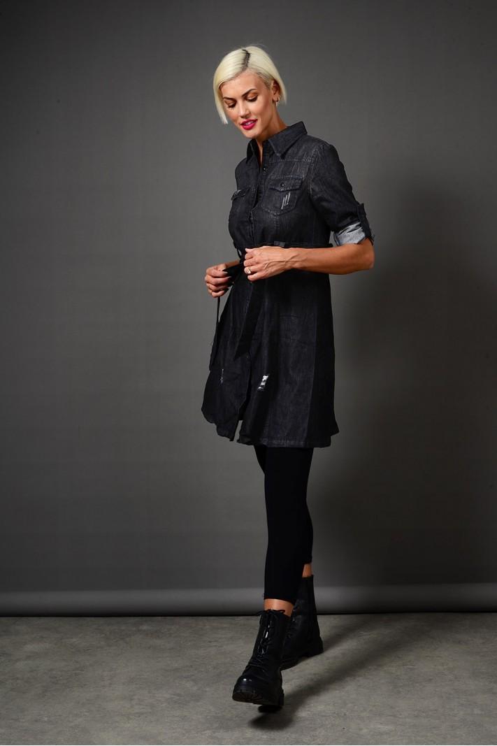Πουκαμίσα/Φόρεμα τζιν μαύρο σε άλφα γραμμή με ζώνη Limited Edition