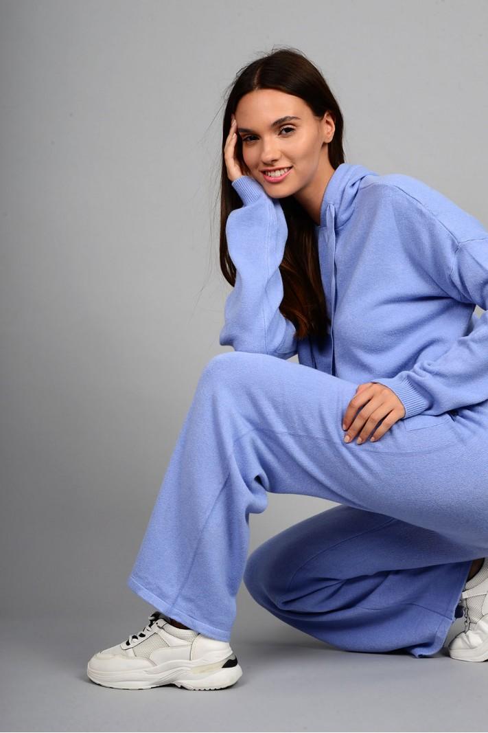Σετ πλεκτό μπλούζα με παντελόνι μπλε ανοιχτό
