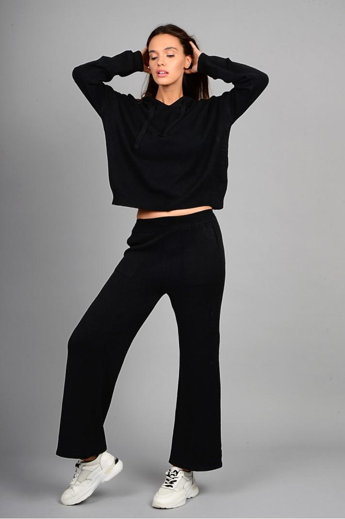 Σετ πλεκτό μπλούζα με παντελόνι μαύρο
