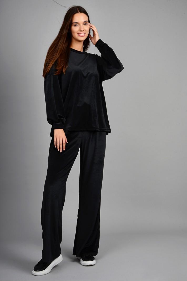 Σετ φόρμα βελουτέ μπλούζα με παντελόνι μαύρη