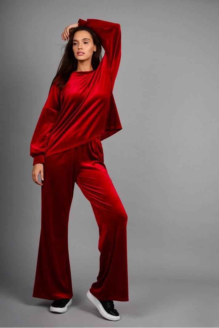 Σετ φόρμα βελουτέ μπλούζα με παντελόνι κόκκινο βουργουνδίας