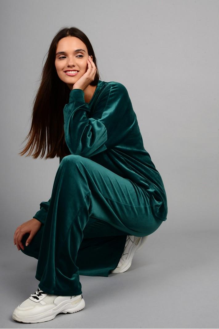 Σετ φόρμα βελουτέ μπλούζα με παντελόνι πράσινο
