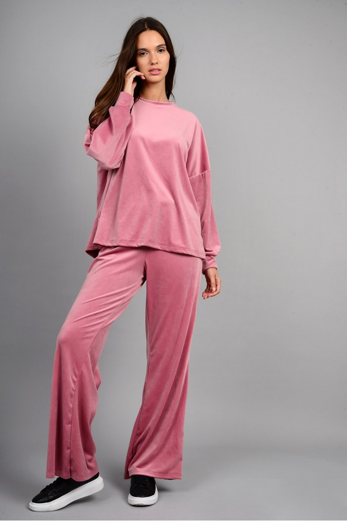 Σετ φόρμα βελουτέ μπλούζα με παντελόνι ροζ