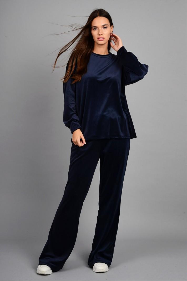 Σετ φόρμα βελουτέ μπλούζα με παντελόνι μπλε σκούρο