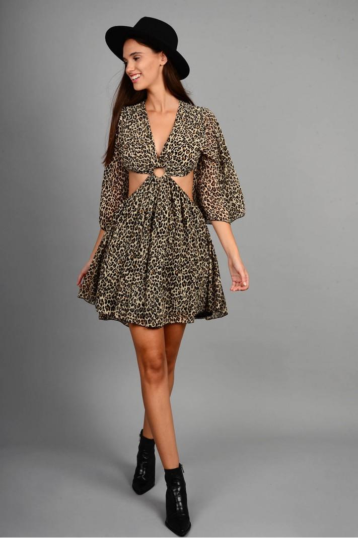 Φόρεμα animal print με άνοιγμα Limited Edition