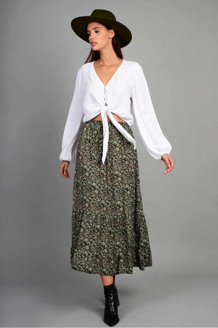 Φούστα μίντι φλοράλ με λάστιχο πράσινη
