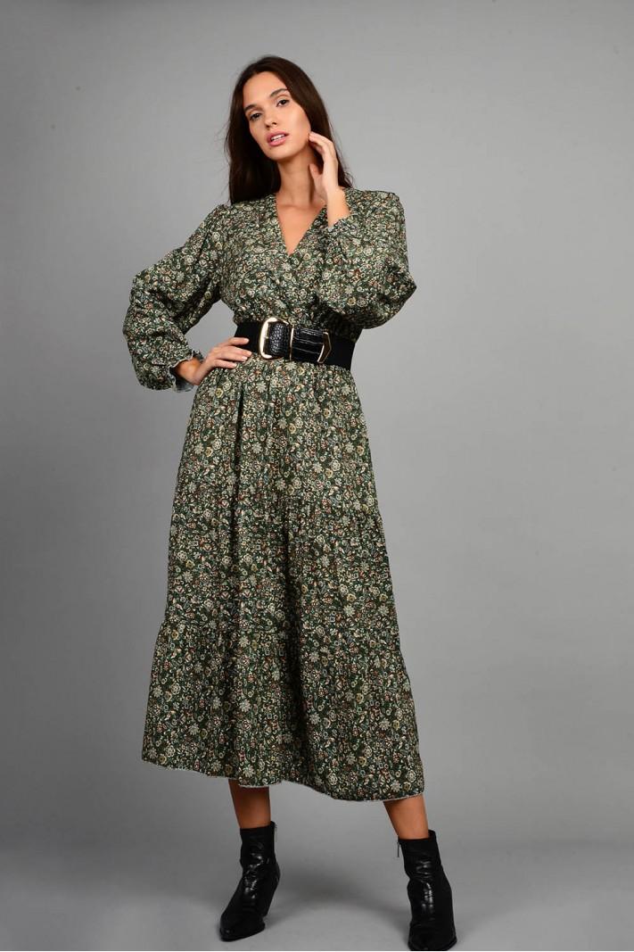 Φόρεμα μίντι φλοράλ με κρουαζέ στήθος πράσινο
