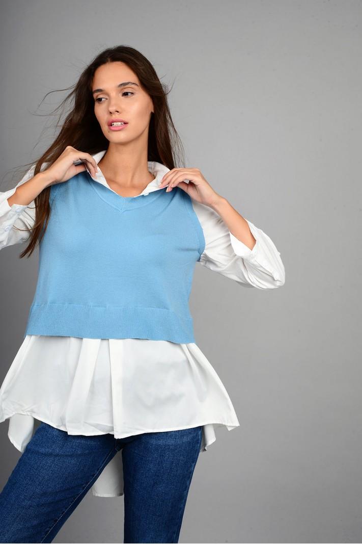 Πλεκτό με μανίκια και τελείωμα πουκαμίσου ασύμμετρο μπλε ανοιχτό