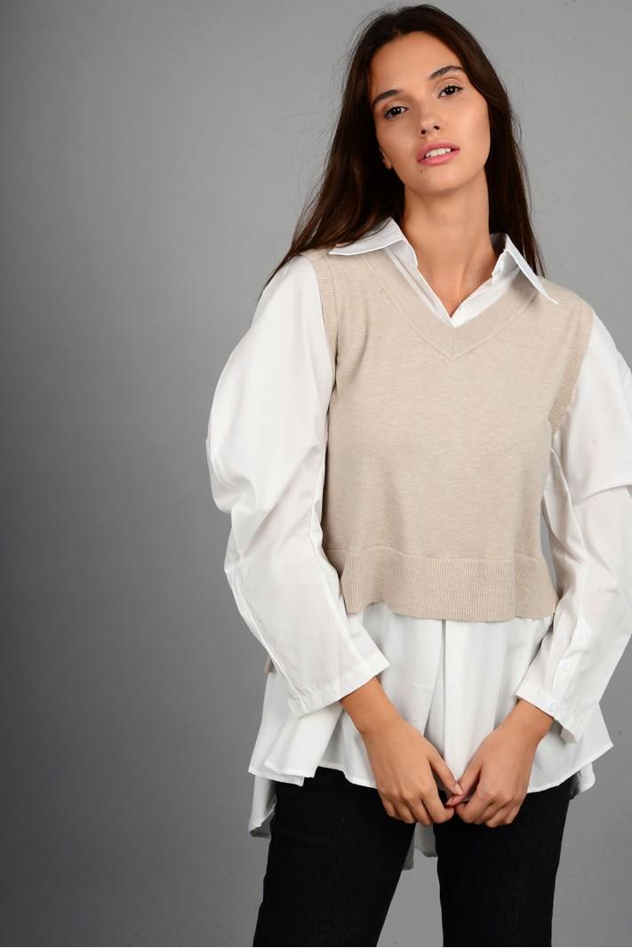 Πλεκτό με μανίκια και τελείωμα πουκαμίσου ασύμμετρο μπεζ
