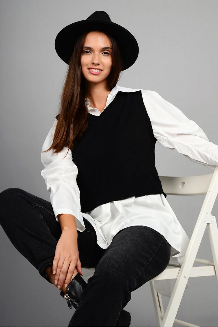 Πλεκτό με μανίκια και τελείωμα πουκαμίσου ασύμμετρο μαύρο