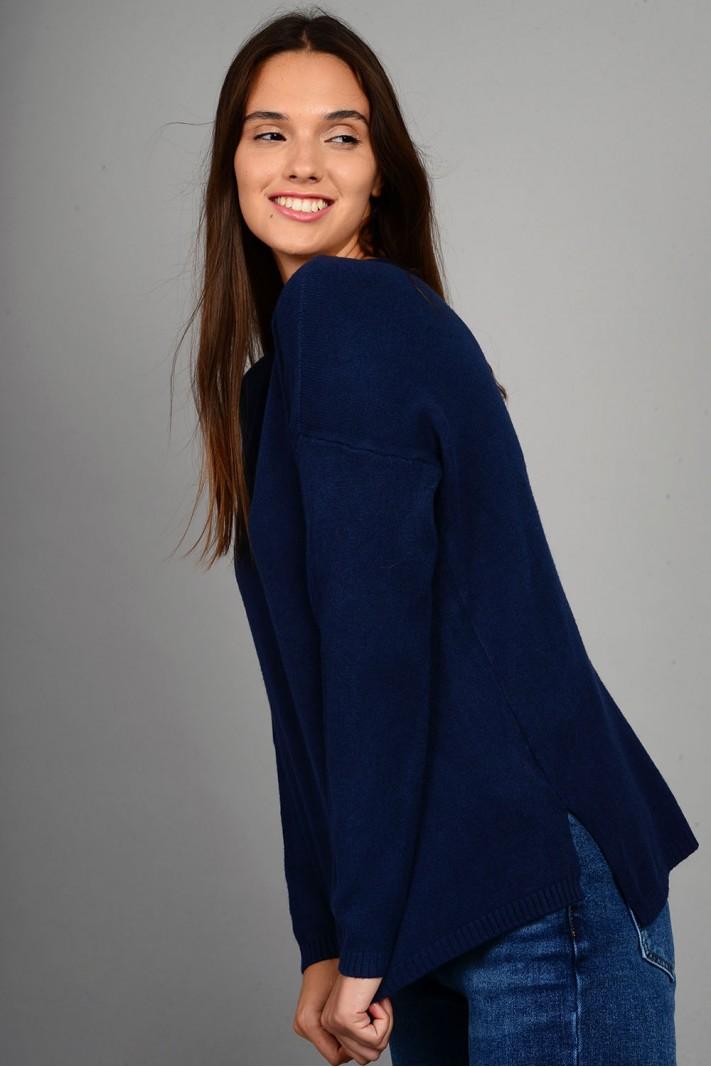 Μπλούζα πλεκτή με στρογγυλό λαιμό μπλε σκούρο