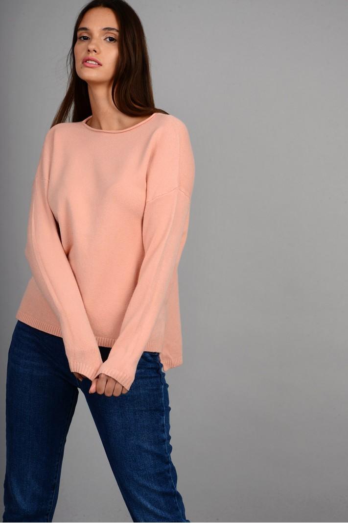 Μπλούζα πλεκτή με στρογγυλό λαιμό ροζ