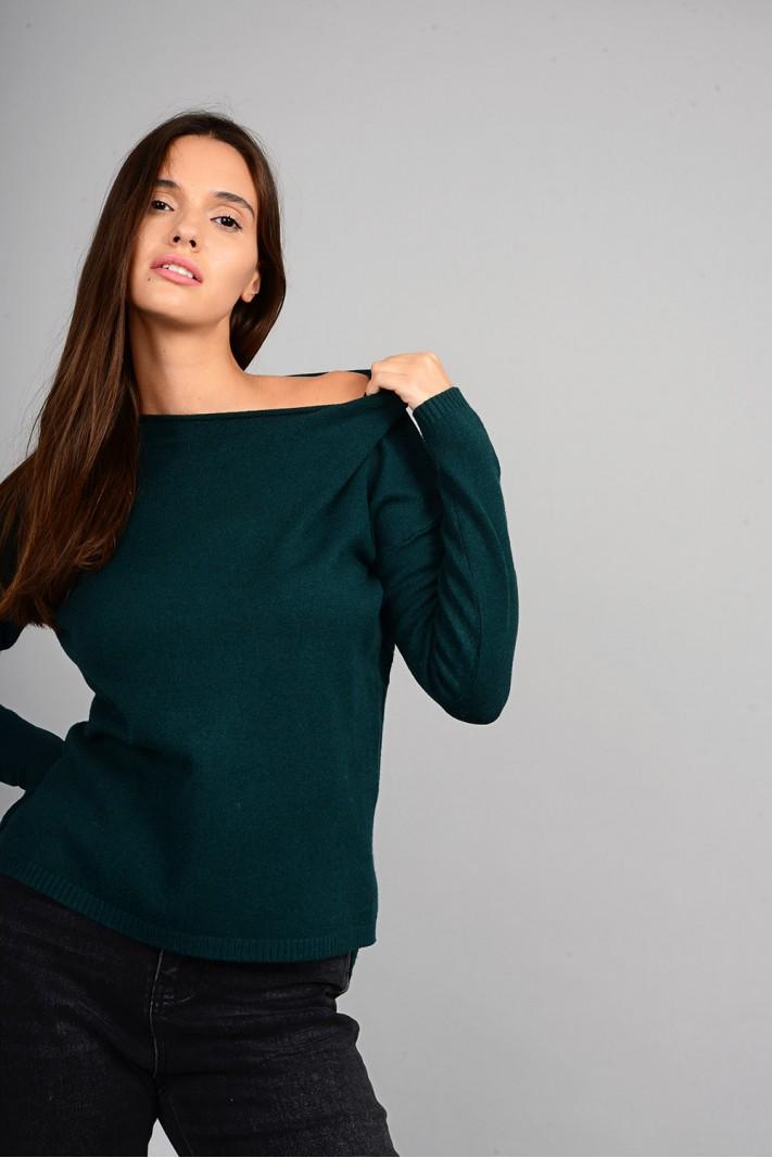 Μπλούζα πλεκτή με στρογγυλό λαιμό πράσινο σκούρο