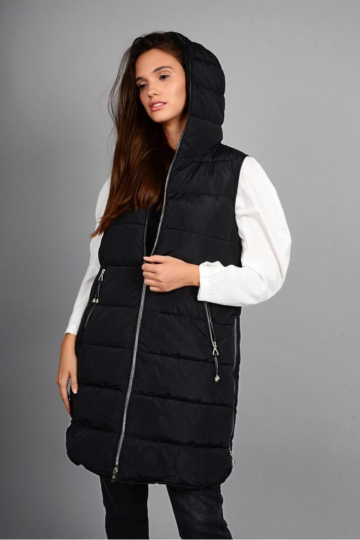 Μπουφάν αμάνικο μακρύ με κουκούλα μαύρο Limited Edition
