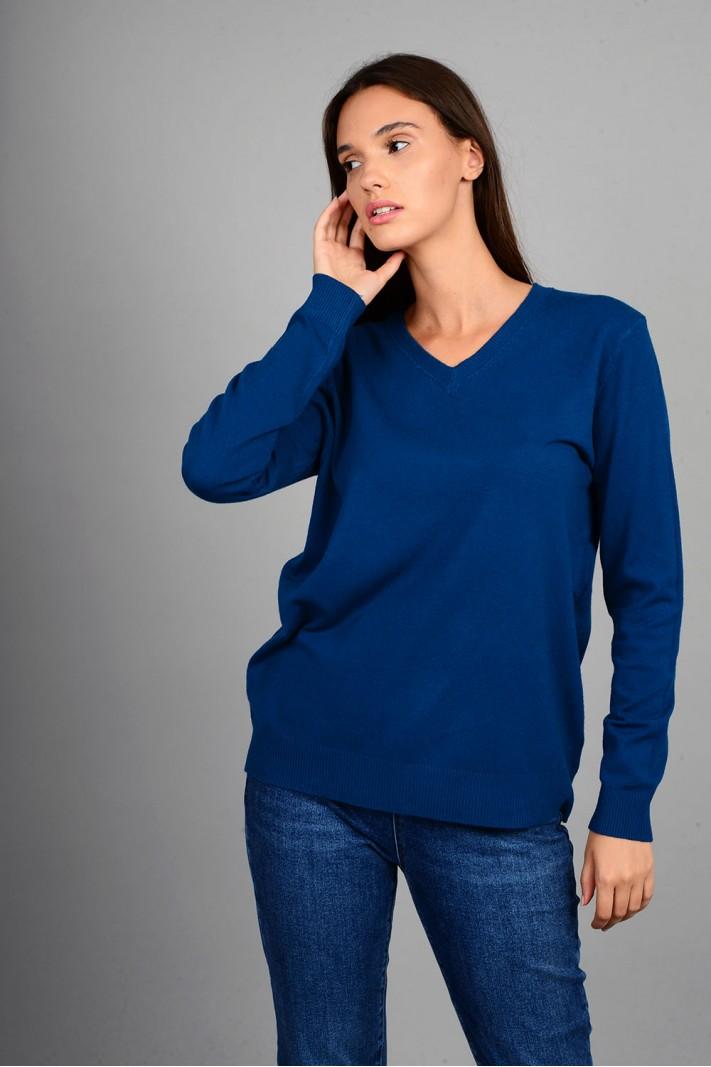 Oversized μπλούζα πλεκτή basic με v λαιμό μπλε