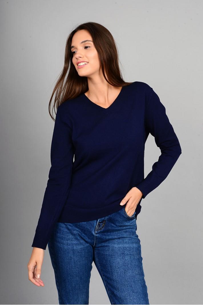 Oversized μπλούζα πλεκτή basic με v λαιμό μπλε σκούρο