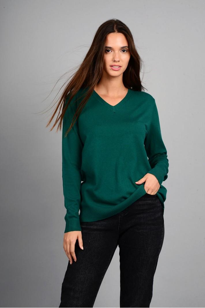 Oversized μπλούζα πλεκτή basic με v λαιμό πράσινο