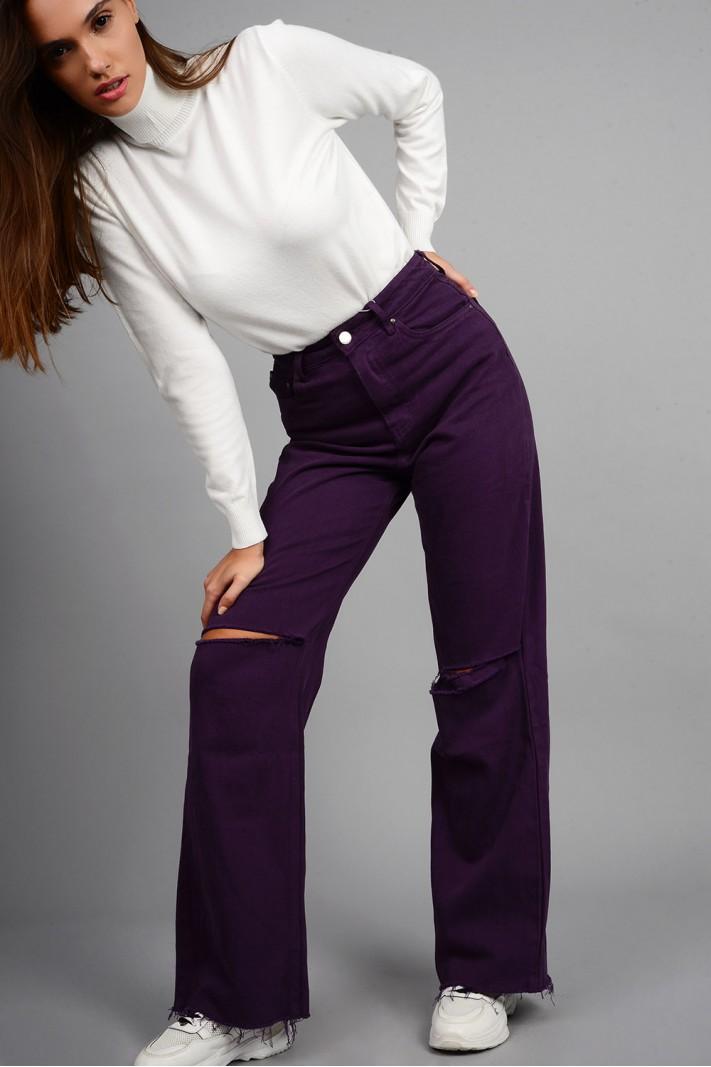 Παντελόνι denim wide leg ψηλόμεσο με σκισίματα μωβ Limited Edition