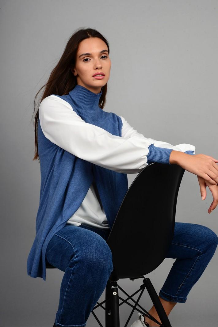 Πλεκτό με εσωτερικό και μανίκια πουκαμίσου μπλε Limited Edition