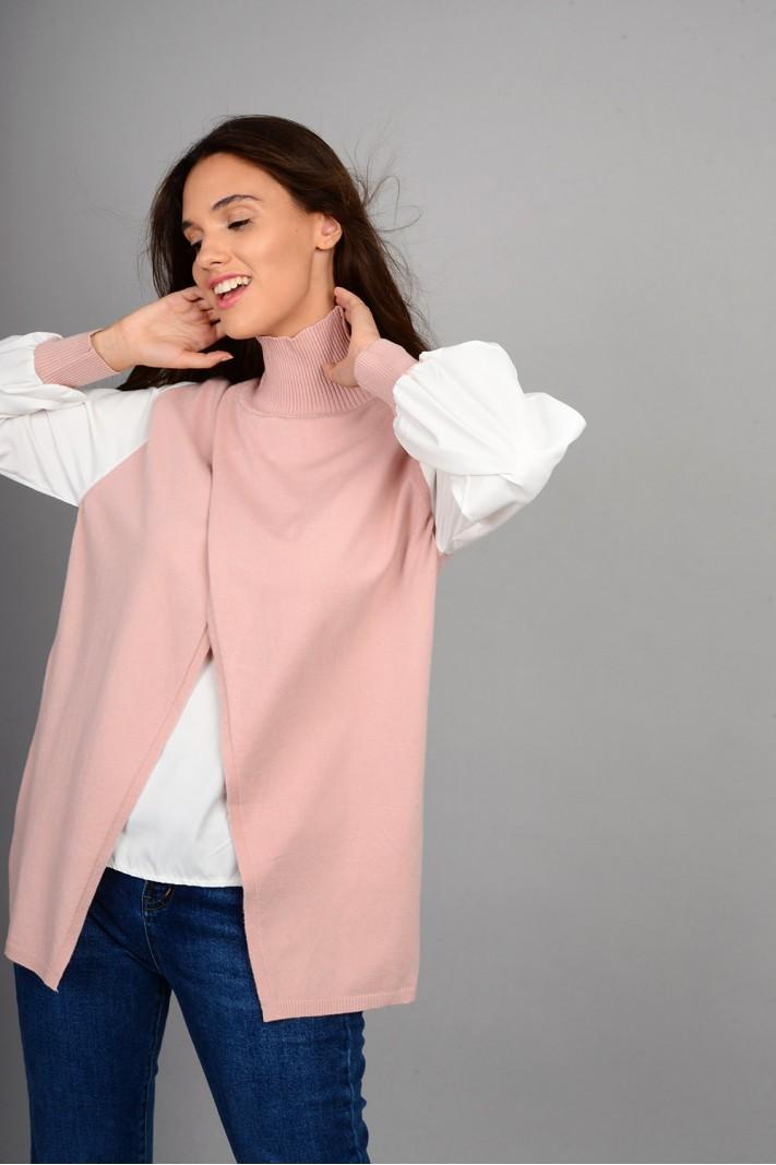 Πλεκτό με εσωτερικό και μανίκια πουκαμίσου ροζ Limited Edition