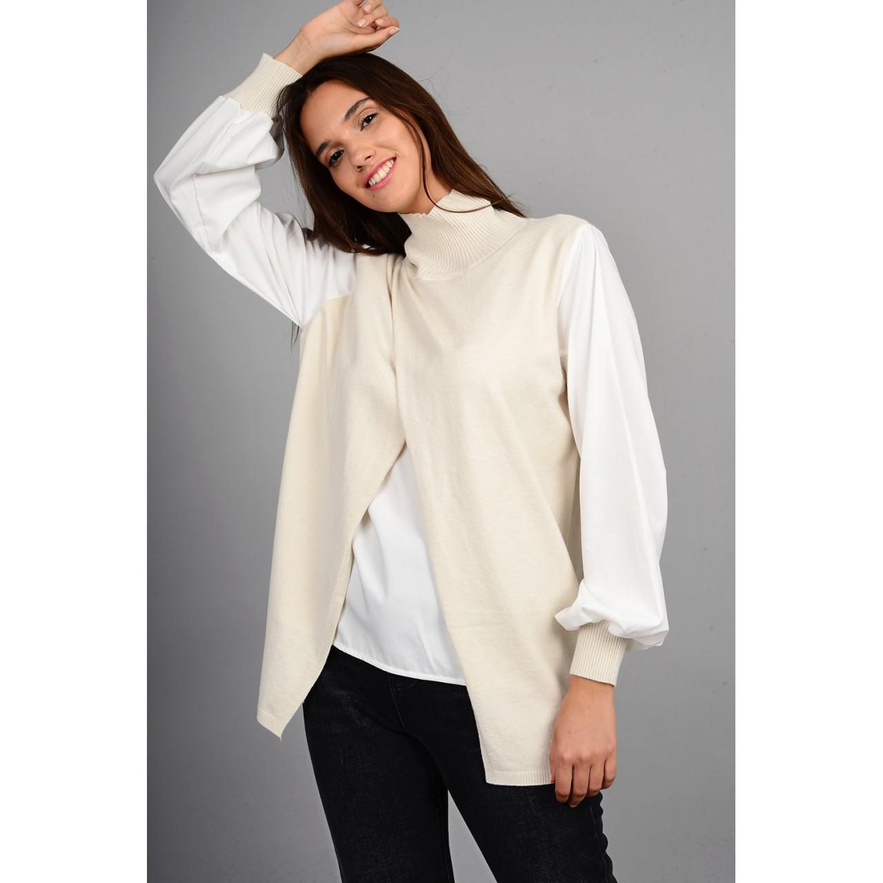 Πλεκτό με εσωτερικό και μανίκια πουκαμίσου μπεζ Limited Edition