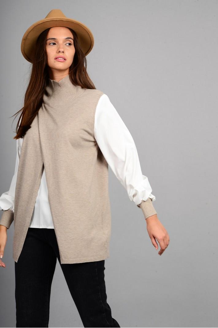 Πλεκτό με εσωτερικό και μανίκια πουκαμίσου πούρο Limited Edition