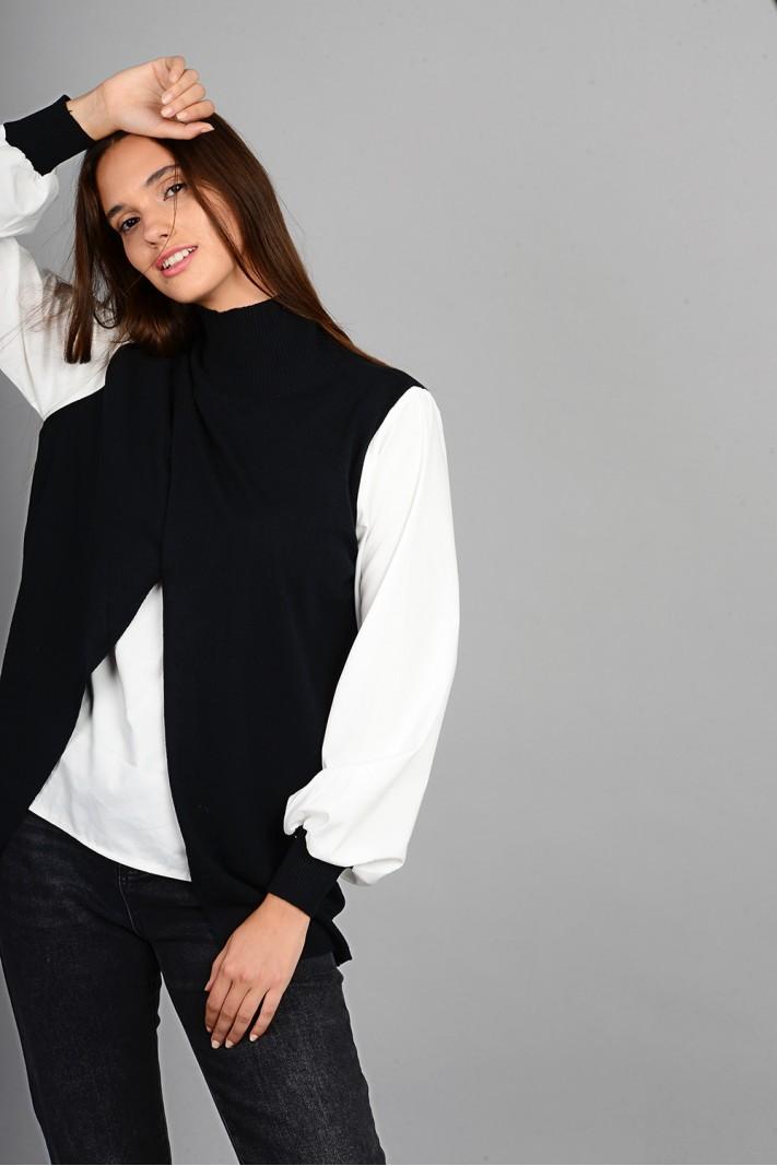 Πλεκτό με εσωτερικό και μανίκια πουκαμίσου μαύρο Limited Edition