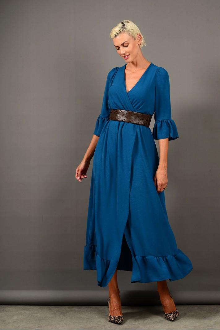 Φόρεμα μακρύ κρουαζέ με βολάν πετρόλ