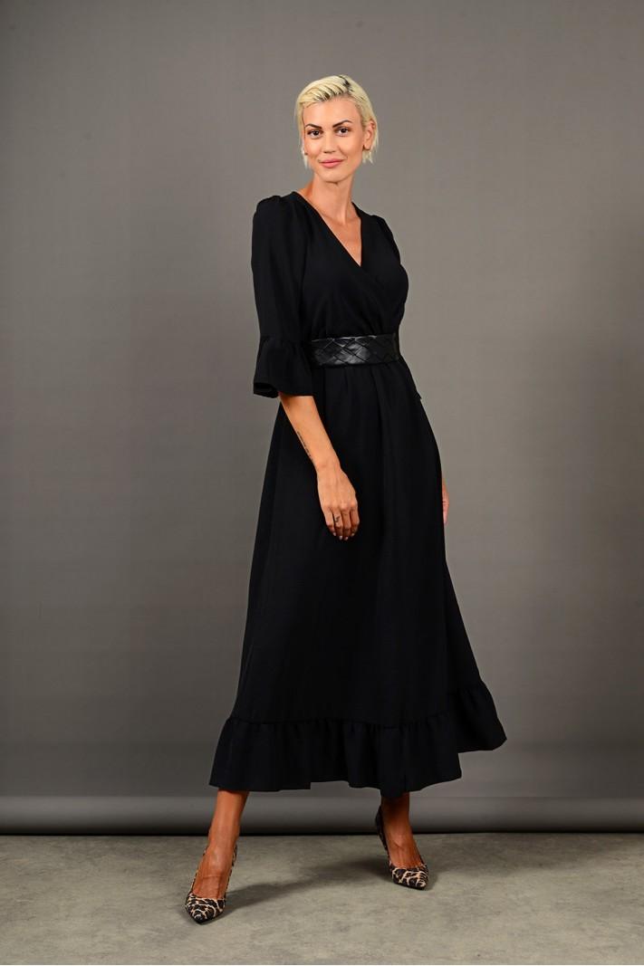 Φόρεμα μακρύ κρουαζέ με βολάν μαύρο