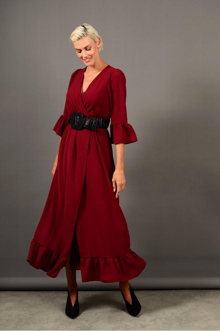 Φόρεμα μακρύ κρουαζέ με βολάν μπορντό
