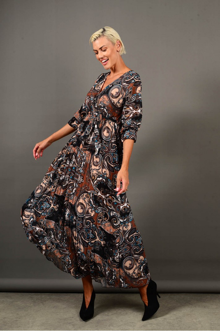 Φόρεμα μακρύ εμπριμέ πλισέ μαύρο Limited Edition