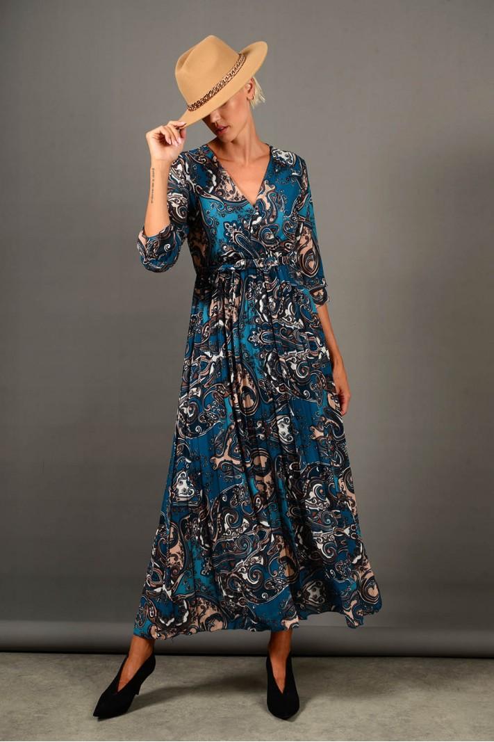 Φόρεμα μακρύ εμπριμέ πλισέ πετρόλ Limited Edition
