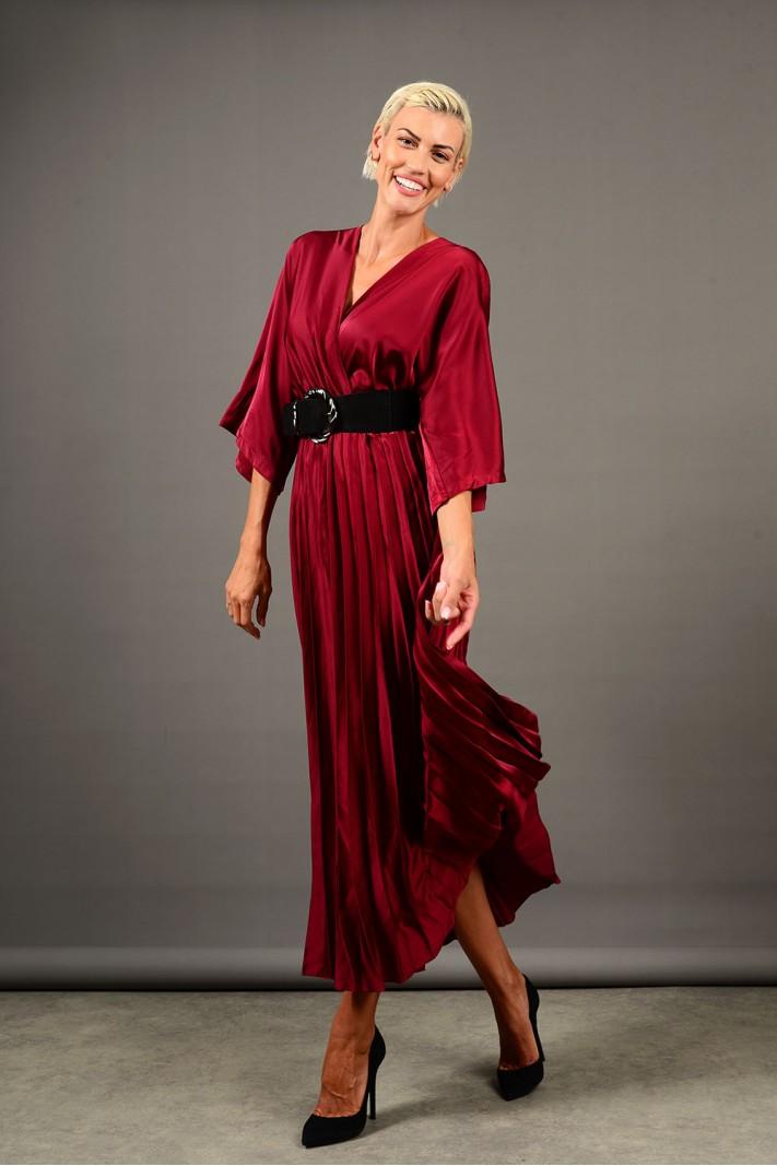 Φόρεμα μακρύ σατέν πλισέ μπορντό Limited Edition