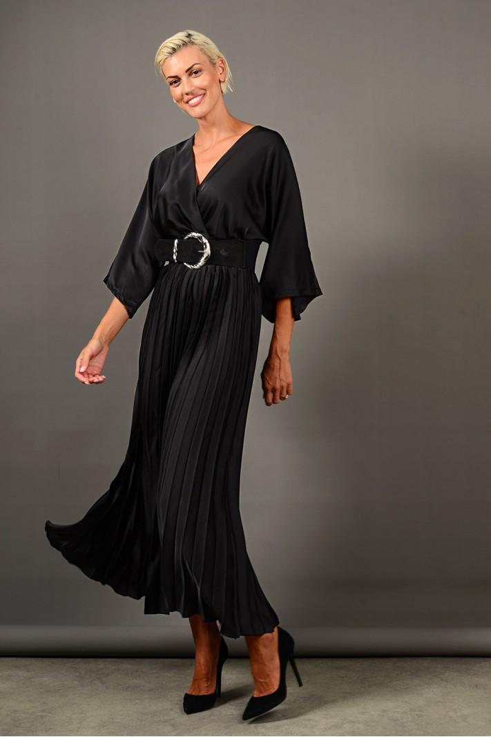 Φόρεμα μακρύ σατέν πλισέ μαύρο Limited Edition
