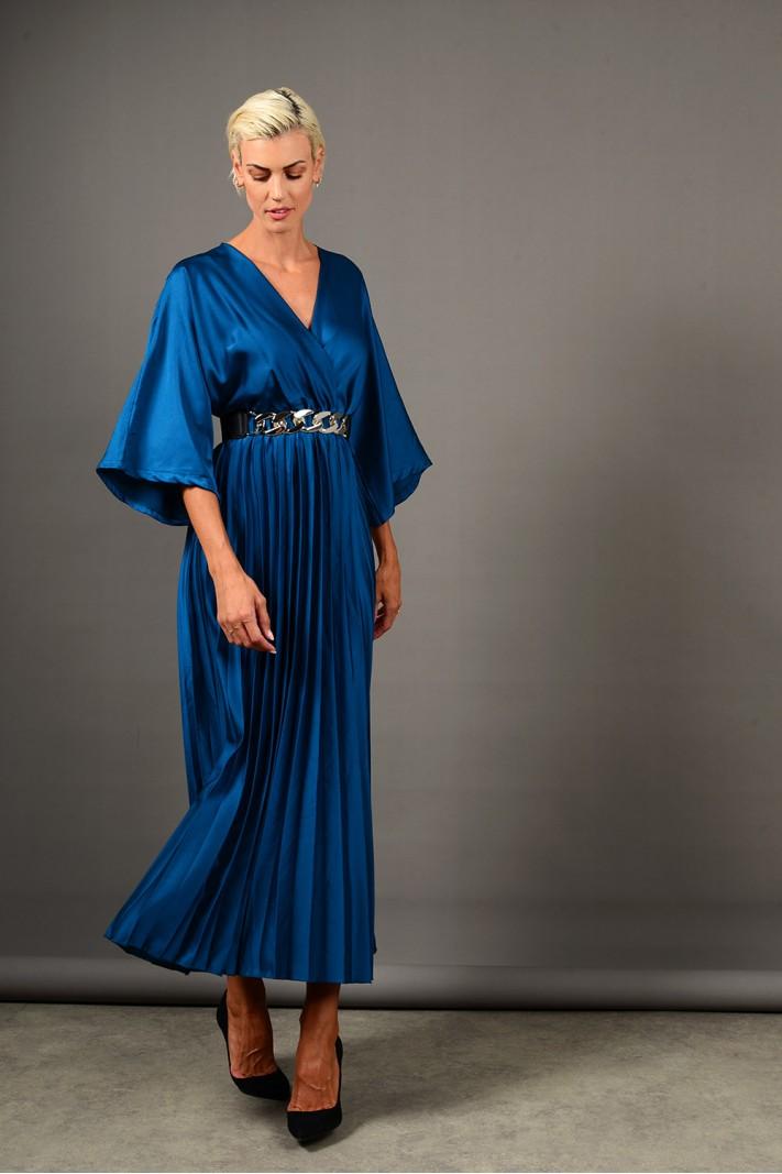 Φόρεμα μακρύ σατέν πλισέ πετρόλ Limited Edition