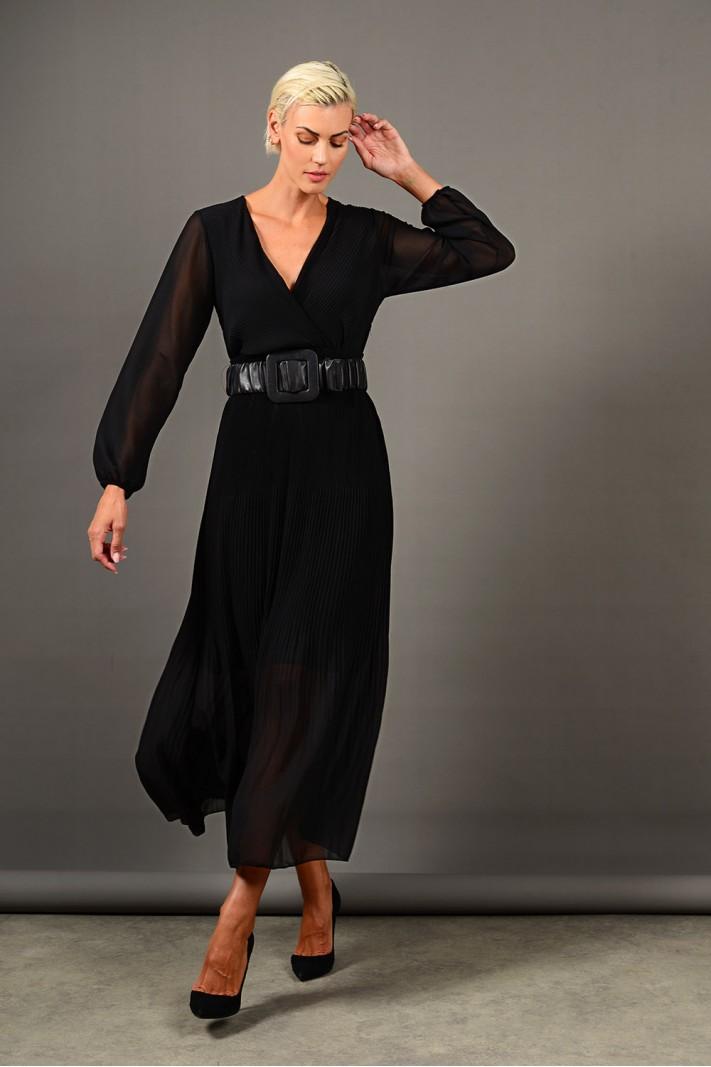 Φόρεμα μακρύ πλισέ με μανίκια μαύρο Limited Edition