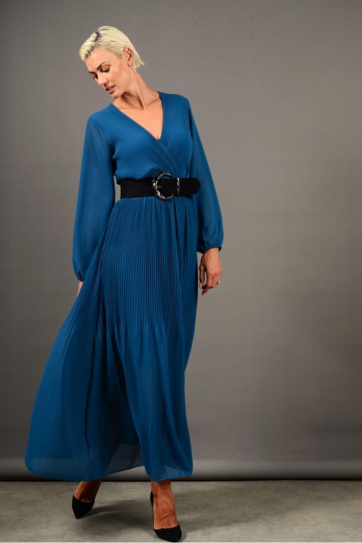 Φόρεμα μακρύ πλισέ με μανίκια πετρόλ Limited Edition