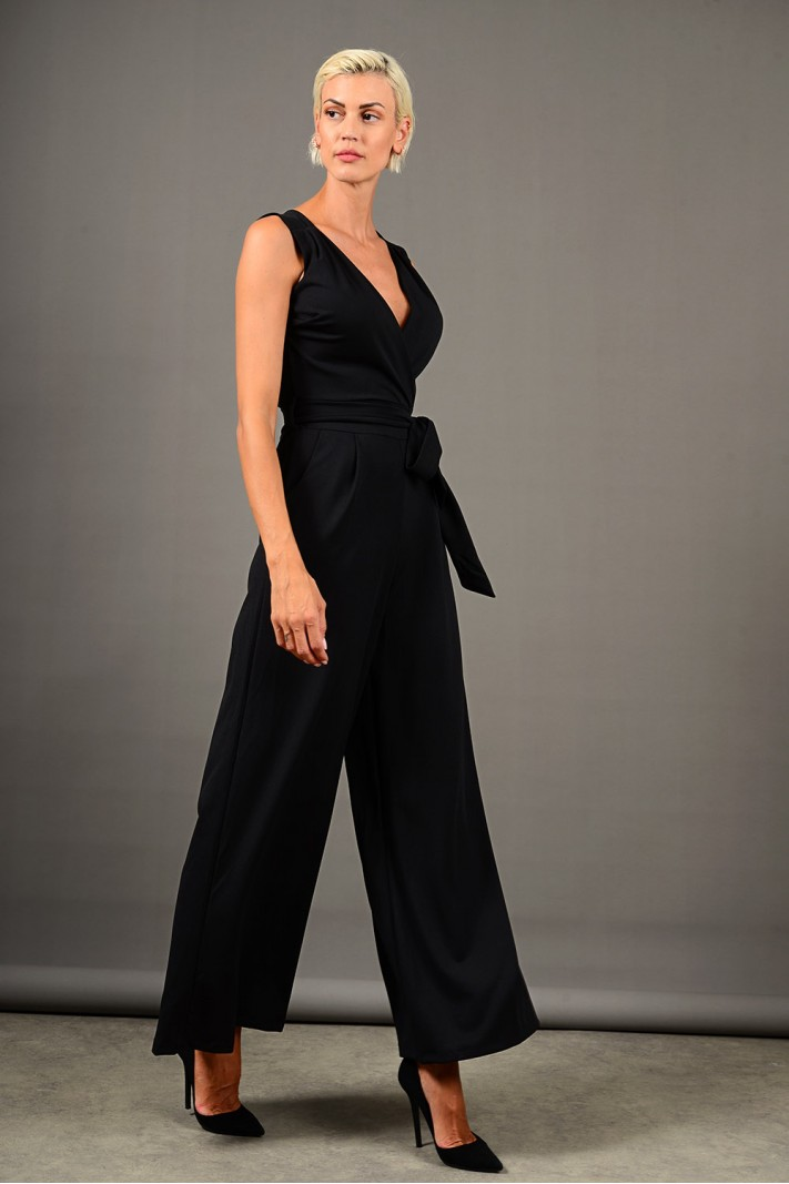 Ολόσωμη φόρμα αμάνικη με τσέπες μαύρη Limited Edition