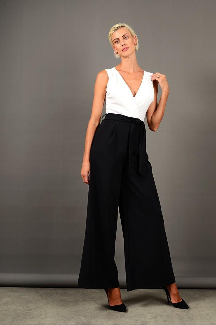 Ολόσωμη φόρμα αμάνικη με τσέπες άσπρο/μαύρο Limited Edition