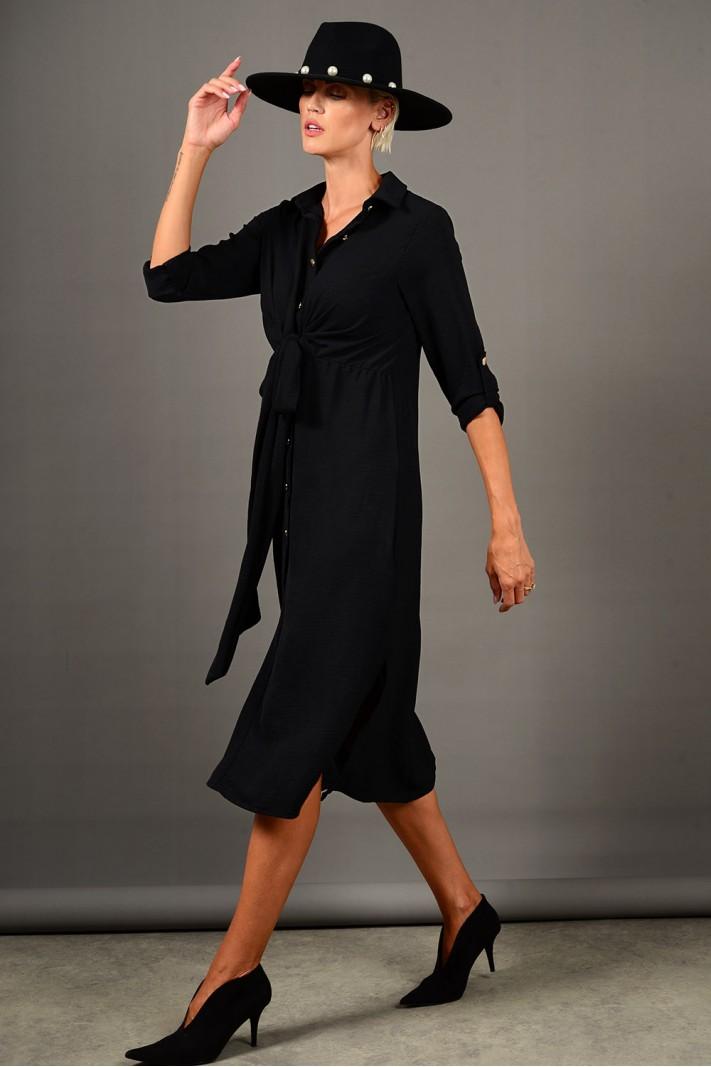 Σεμιζιέ/Φόρεμα με κουμπιά μαύρο