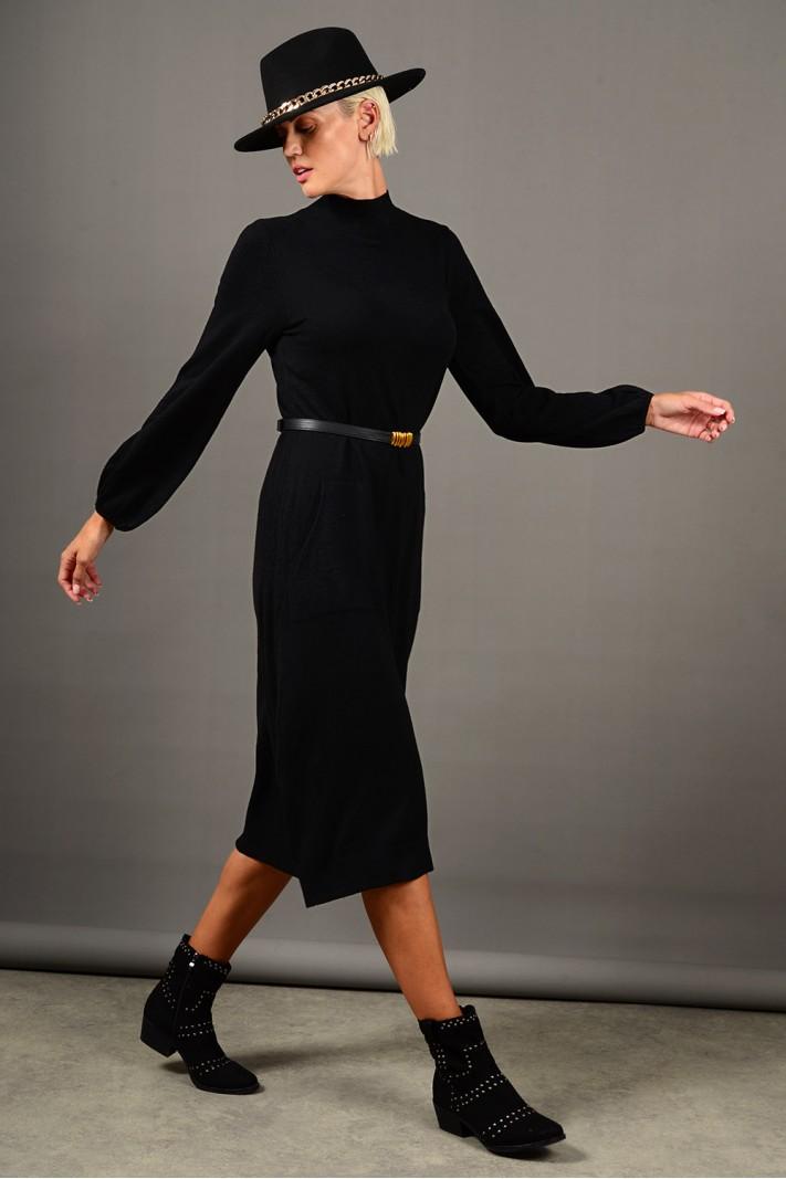 Φόρεμα μίντι πλεκτό με τσέπες και ζώνη μαύρο Limited Edition