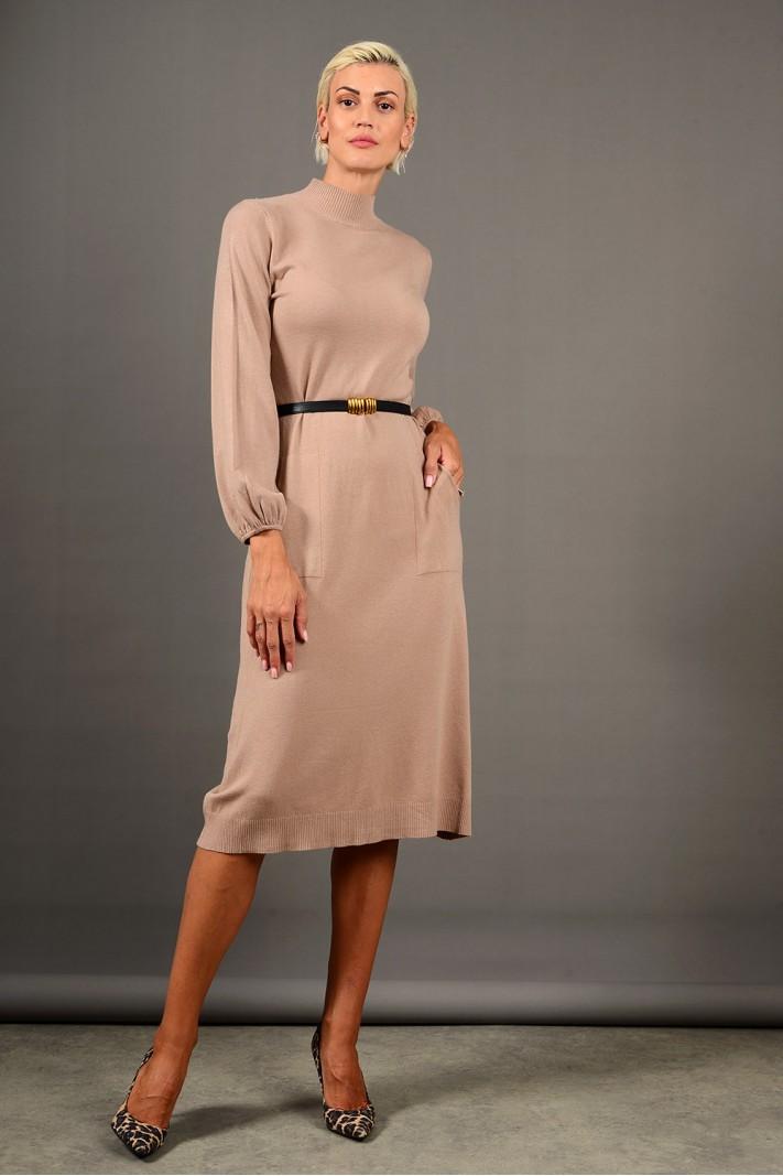 Φόρεμα μίντι πλεκτό με τσέπες και ζώνη μπεζ Limited Edition