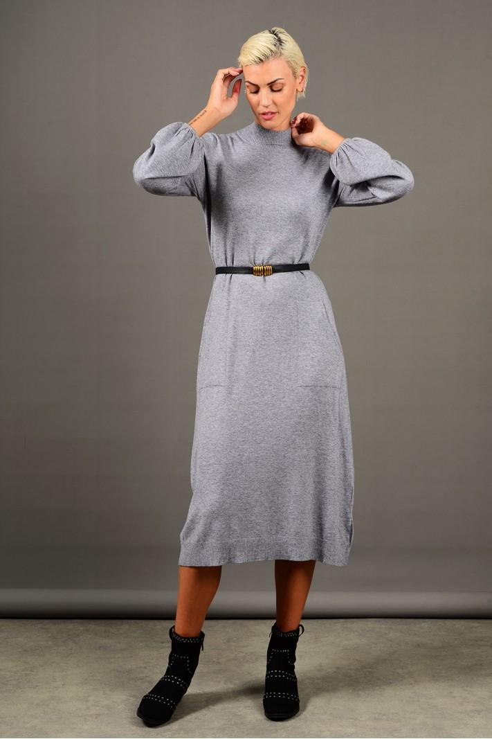 Φόρεμα μίντι πλεκτό με τσέπες και ζώνη γκρι Limited Edition