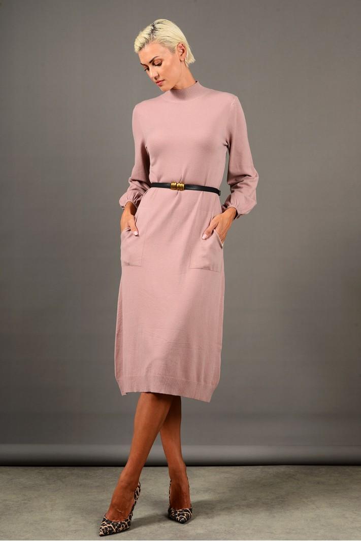 Φόρεμα μίντι πλεκτό με τσέπες και ζώνη ροζ Limited Edition