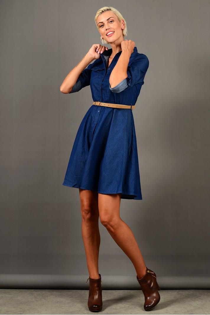 Φόρεμα κοντό τζιν μπλε σε άλφα γραμμή με ζωνάκι και τσέπες