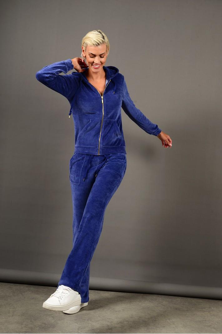Σετ φόρμα βελουτέ ζακέτα με παντελόνι μπλε