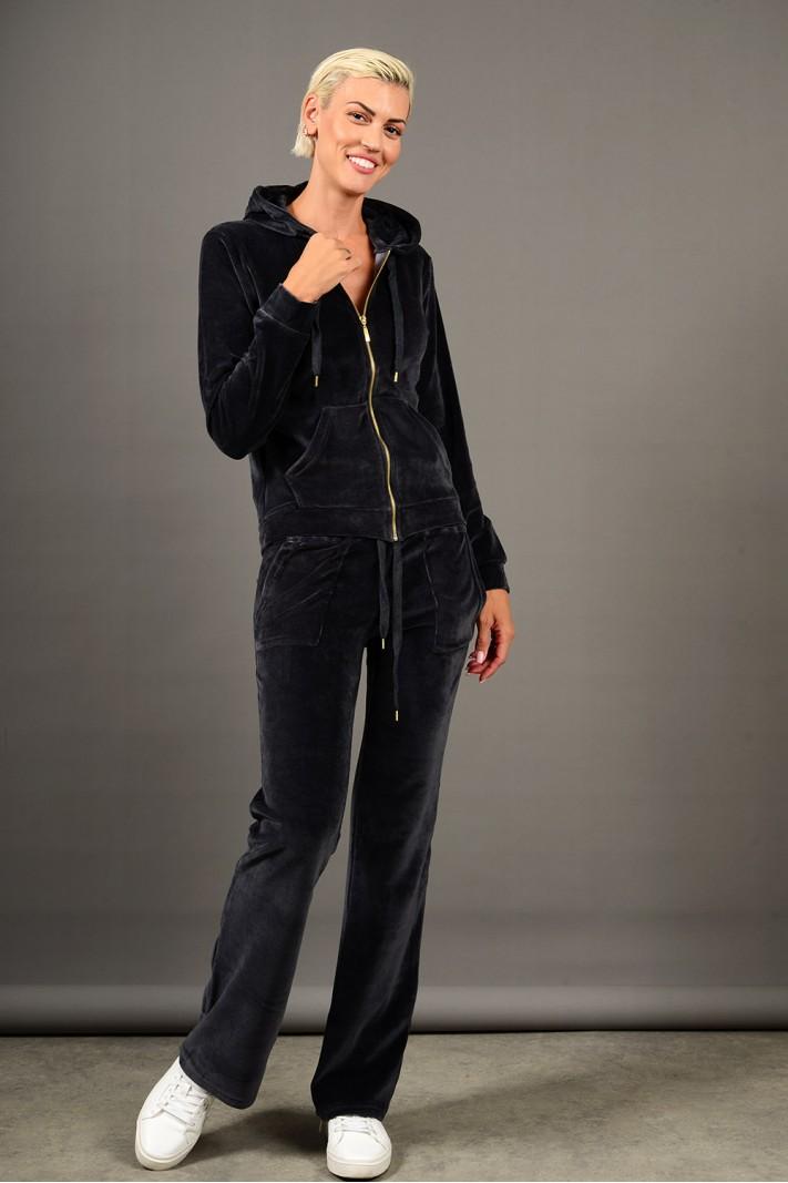 Σετ φόρμα βελουτέ ζακέτα με παντελόνι γκρι σκούρο