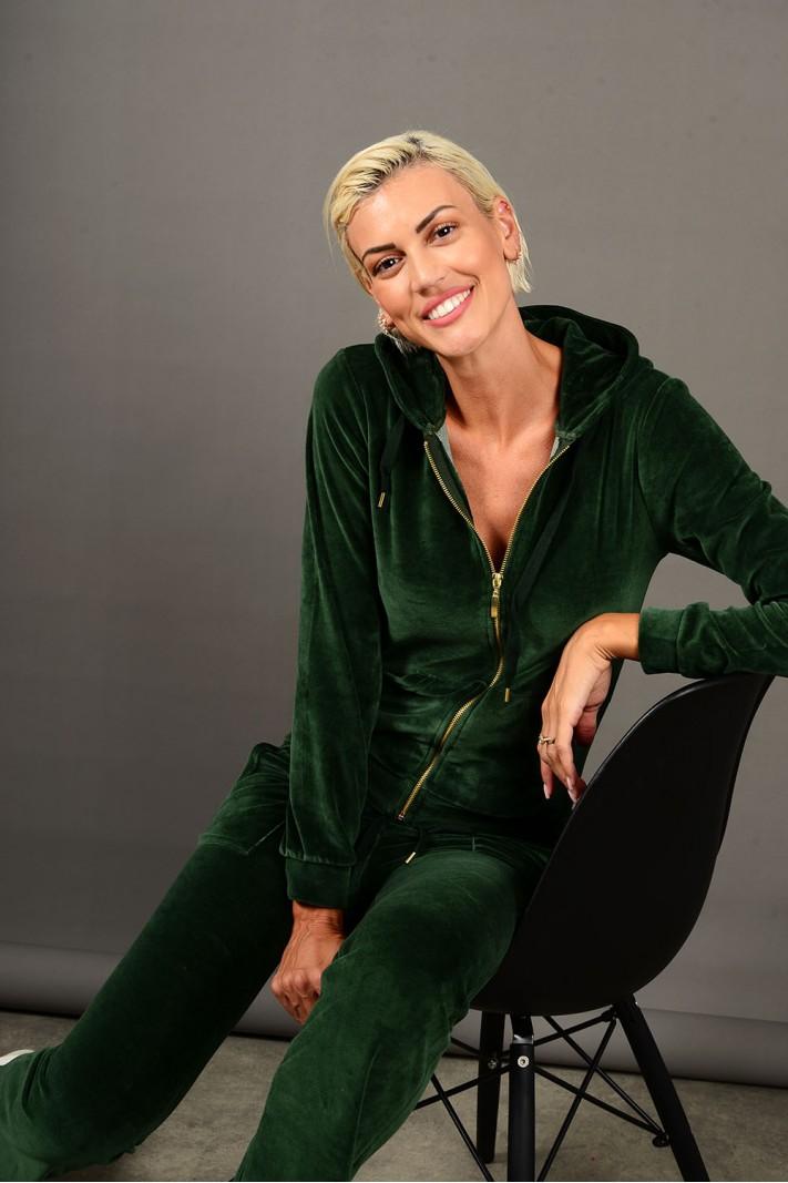 Σετ φόρμα βελουτέ ζακέτα με παντελόνι πράσινο σκούρο