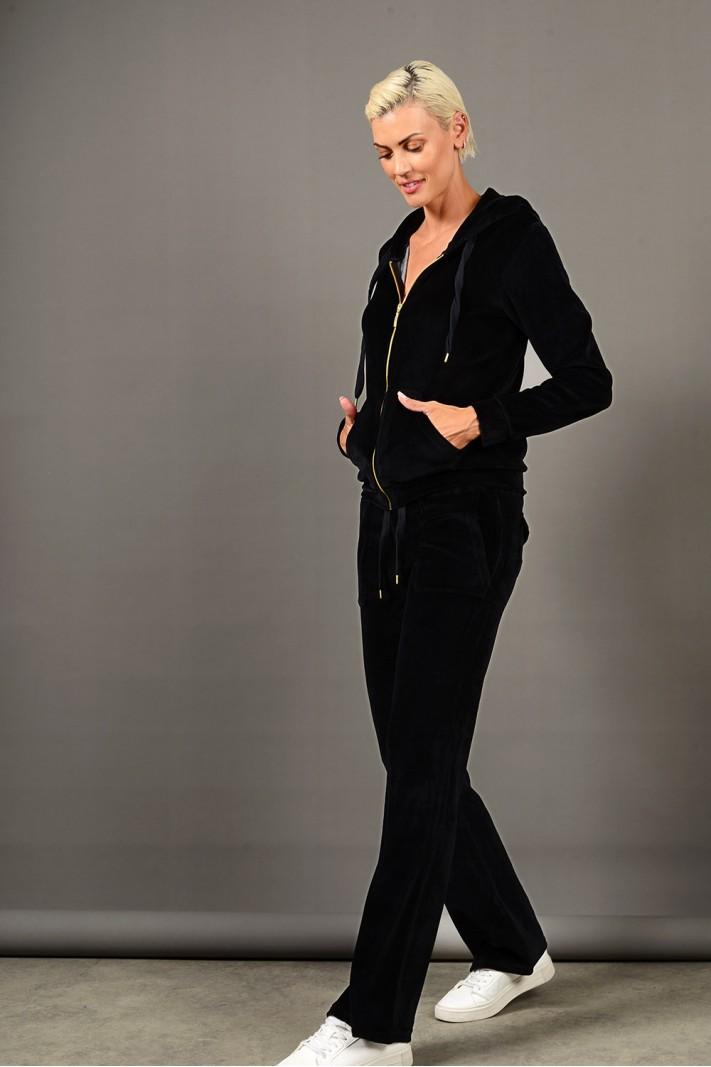 Σετ φόρμα βελουτέ ζακέτα με παντελόνι μαύρη